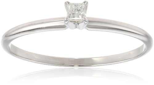14k White Gold Princess-Cut Solitaire Engagement Ring (1/10 cttw, I-J Color, I1-I2 Clarity), Size 5