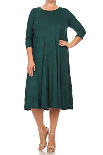 Pastel by Vivienne Women's A-Line Trapeze Midi Dress Plus Size XXX-Large Hunter Green