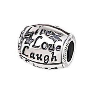 "Antique Silver Design ""Live Love Laugh"" Charm Fits Pandora Troll Chamilia Biagi Bracelet"