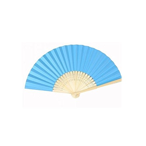 Topshop® Ladies Bamboo & Paper Fan Hollow Out Hand Folding Fans Outdoor Wedding Party Favor (1, Deep blue)