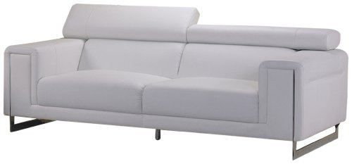 AC Pacific Carter Bonded Leather Sofa White