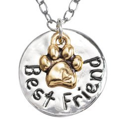 Rockin' Doggie Paw Necklace, Puffy Gold Plated Paw on Best Friend Circle