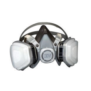 3M Large Black Thermoplastic Elastomer Half Mask 5000 Series P95 Disposable Dual Cartridge Air Purifying Respirator With 4 Point Harness - 1 EA