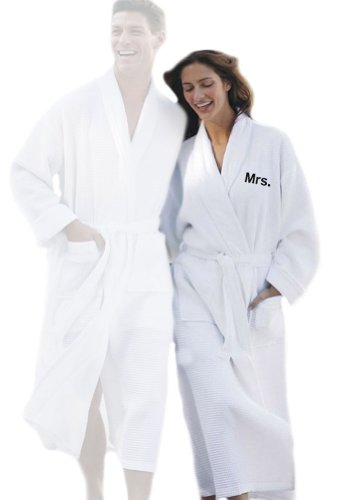 Simplicity Personalized Waffle Spa / Bath Robe - Embroidered Mrs. - Wedding Gift