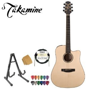 Takamine Eg363Sc Acoustic-Electric Guitar With Stand, Cable, Strings, Takamine Suede Strap And Pick Sampler