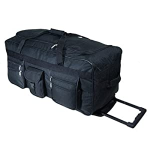 18, 20, 24, 28 , 30 or 34 inch Wheeled Holdall Trolley Travel Bag Luggage on Wheels Black, Navy, Red, Olive or Pink (18 inch, Black)