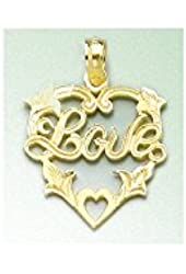 Gold Misc Hearts Charm Pendant Love In Heart Floral Trim