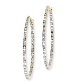 14k Rough Diamond Fascination Round Hinged Hoop Earrings - Measures 35x2mm - JewelryWeb