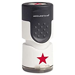4 Pack - Accustamp Pre-Inked Round Stamp With Microban Star 5/8\