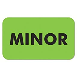 Medical Labels for Minor, 7/8 x 1-1/2, Fluor Green, 250/Roll, Sold as 1 Roll