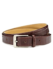 Leather Faux Crocodile Skin Square Buckle Belt