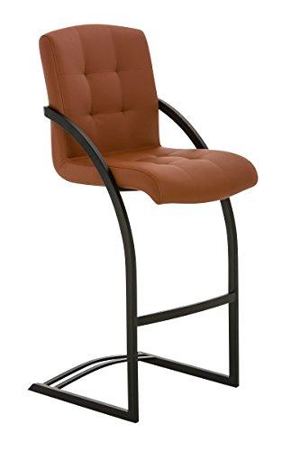 Sedia sgabello a slitta CP118 design moderno 57x47x113cm ecopelle struttura nera ~ marrone chiaro