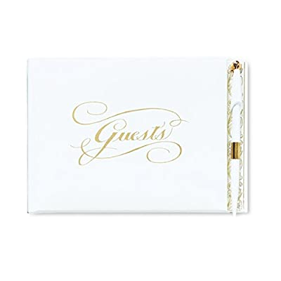 CR Gibson Gold Guest Book With Pen