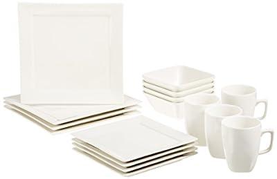 AmazonBasics 16-Piece Classic White Dinnerware Set, Square, Service for 4
