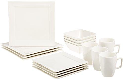 AmazonBasics - Servizio di piatti di porcellana per 4 persone, modello Premium Classic quadrato, 16 pezzi, colore: bianco