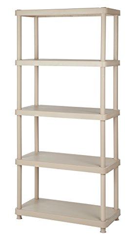 "Keter 5-Tier 34"" W x 16"" D x 72"" H Freestanding Plastic Shelving Unit Storage Rack"