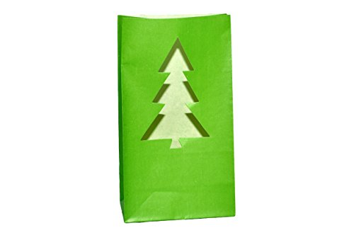 Holiday Luminaries-Set Of 4 Luminary Bags With 4 Led Tea Lights (Christmas Tree)