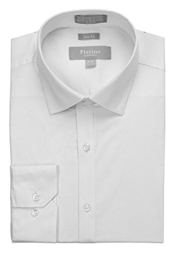 MARQUIS Men's Slim Fit Spandex Dress Shirt Extra Large White (White Dress Shirt Extra Slim Fit compare prices)