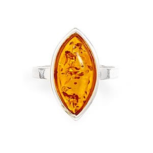 Sterling Silver Marquise Cognac Baltic Amber Ring / Size 8