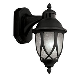 13 in h black motion activated outdoor wall light. Black Bedroom Furniture Sets. Home Design Ideas