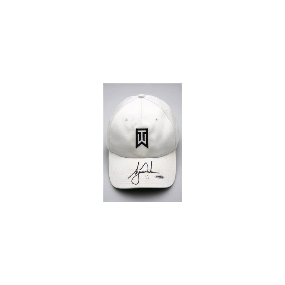 f593af386fb TIGER WOODS Signed Tournament Used White Hat UDA 1 1 Autographed Golf Hats  and Visors