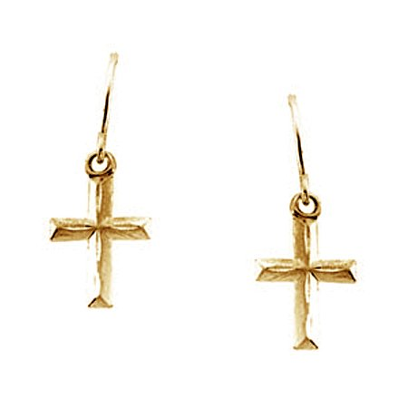 Kid's Religious Cross Earrings in 14K Yellow Gold