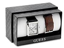 GUESS DATE DAY LEATHER MENS WATCH SET FREE BAND - G95433G