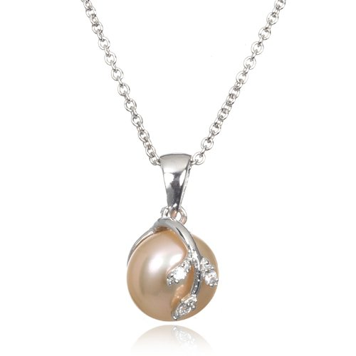 Pink Freshwater Pearl White CZ Overlay Pendant-18