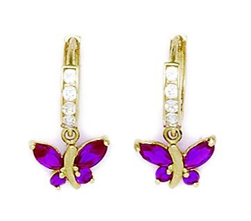 14ct Yellow Gold Red CZ Butterfly Drop Hinged Earrings - Measures 19x10mm
