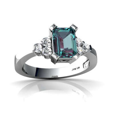 Created Alexandrite 14ct White Gold Ring