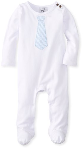 Mud Pie Baby-Boys Newborn Tie One Piece, White, 6-9 Months front-1054020