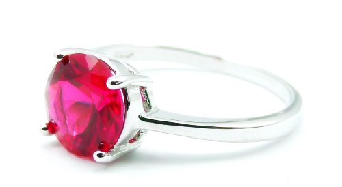 Simple 1 Carat Round Solitaire Simulated Red Ruby Engagement Ring, 14k White Gold Filled Band, Size 8