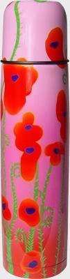 """Pylones Hot or Cold Ladies Coffee Travel Thermos Bottle; """"Pink Poppy Flower"""", 16 Ounce"""