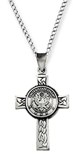 Sterling Silver US Army Halo Cross Pendant Necklace, 24""