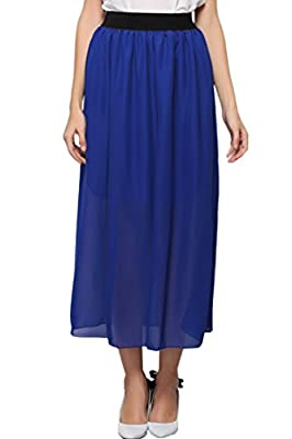 ACHICGIRL Women's Colorful Vibrant Candy Color Chiffon Pleated Swing Skirt