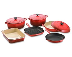 Le Creuset Enamel On Steel 10 Piece Cookware Set, Cherry Red