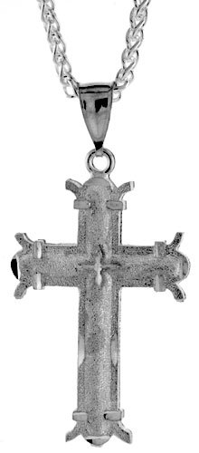 Sterling Silver Cross Pendant, 1 7/8 inch (48 mm) tall
