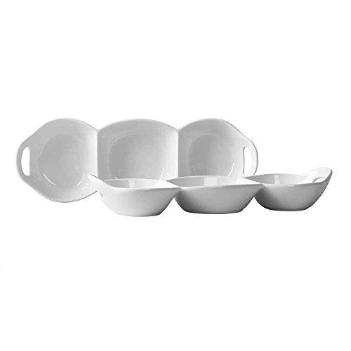 Blanc de Blanc 3 Section Condiment Divided Serving Dish (Set of 2)
