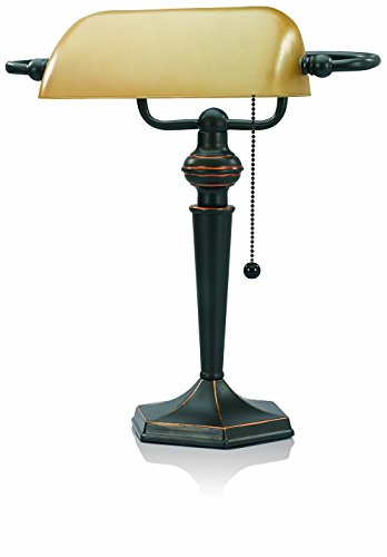 V-LIGHT Traditional Style CFL Banker's Desk Lamp with Amber Glass Shade (CAVS91045BRZ) (Classic Lamp compare prices)