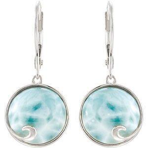 Genuine Larimar Earrings: Mystic Cloud