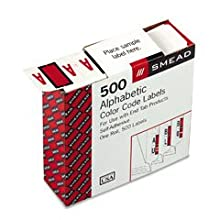 Smead A-Z Color-Coded Bar-Style End Tab Labels, Letter A, Red, 500 per Roll (67071)