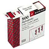 Smead BCCR Bar-Style Color-Coded Alphabetic Label, A, Label Roll, Red, 500 labels per Roll, (67071)