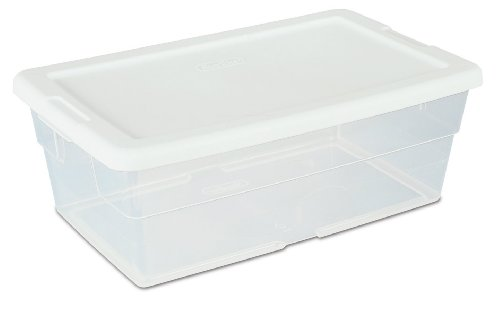 Sterilite 16428012 Storage Box, White Lid with See-Through Base, 12-Pack, 6-Quart