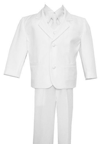 Toddlers Infants & Boys White Tuxedo Special occasion Suit, Complete Set, Jacket, Shirt, Vest & Pants, Tie (0-24 months) 2T 3T 4T