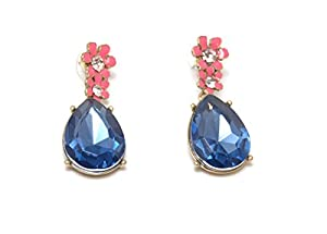 Sapphire Floret Drop Stud Earrings made with Austrian Glass Crystals (in a Gift Pouch)