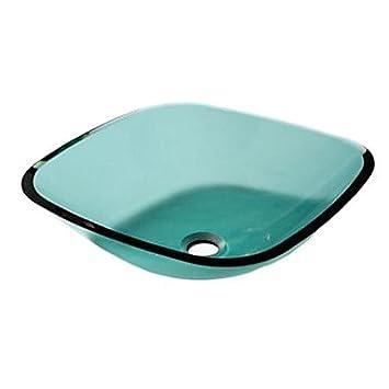 moderne geh rtetes glass square waschbecken mit einbauring und wasser ablassen dee650. Black Bedroom Furniture Sets. Home Design Ideas