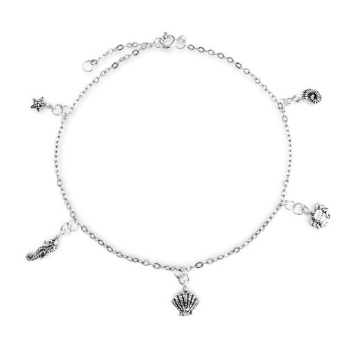 Bling Jewelry Sea Life Charm Sterling Silver Anklet 10 Inch