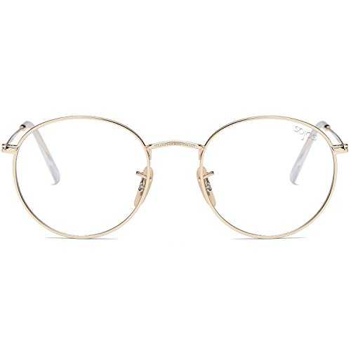 a35bfa2b00 SojoS Small Round Clear Lens Unisex Metal Frame Eyeglasses Glasses SJ1014  3447 With Gold Frame Clear Lens