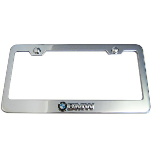 bmw logo chrome license plate frame made of metal. Cars Review. Best American Auto & Cars Review