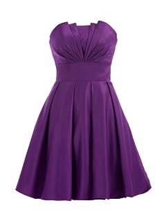 Landybridal A-line Knee Length Satin Bridesmaid Dress E22464 L Grape